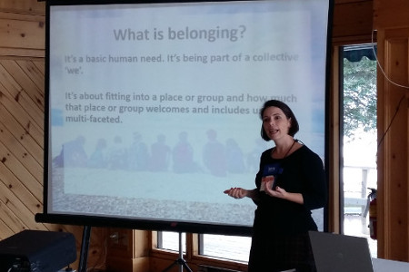Dominique O'Rourke introducing the notion of belonging at the Symposium on Performing Arts in Rural Communities