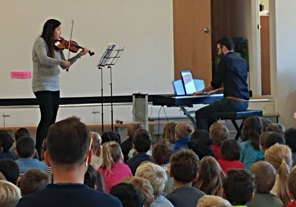 The Bouey-Doucet Duo was visiting Forest Hill Elementary, Fredericton, as part of a Debut Atlantic tour