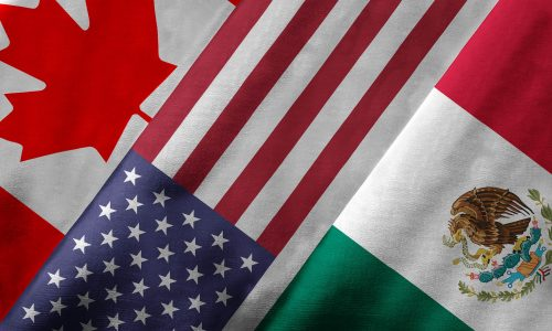 Flags of Canada, the United States and Mexico