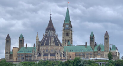 View of Parliament buildings from Ottawa river