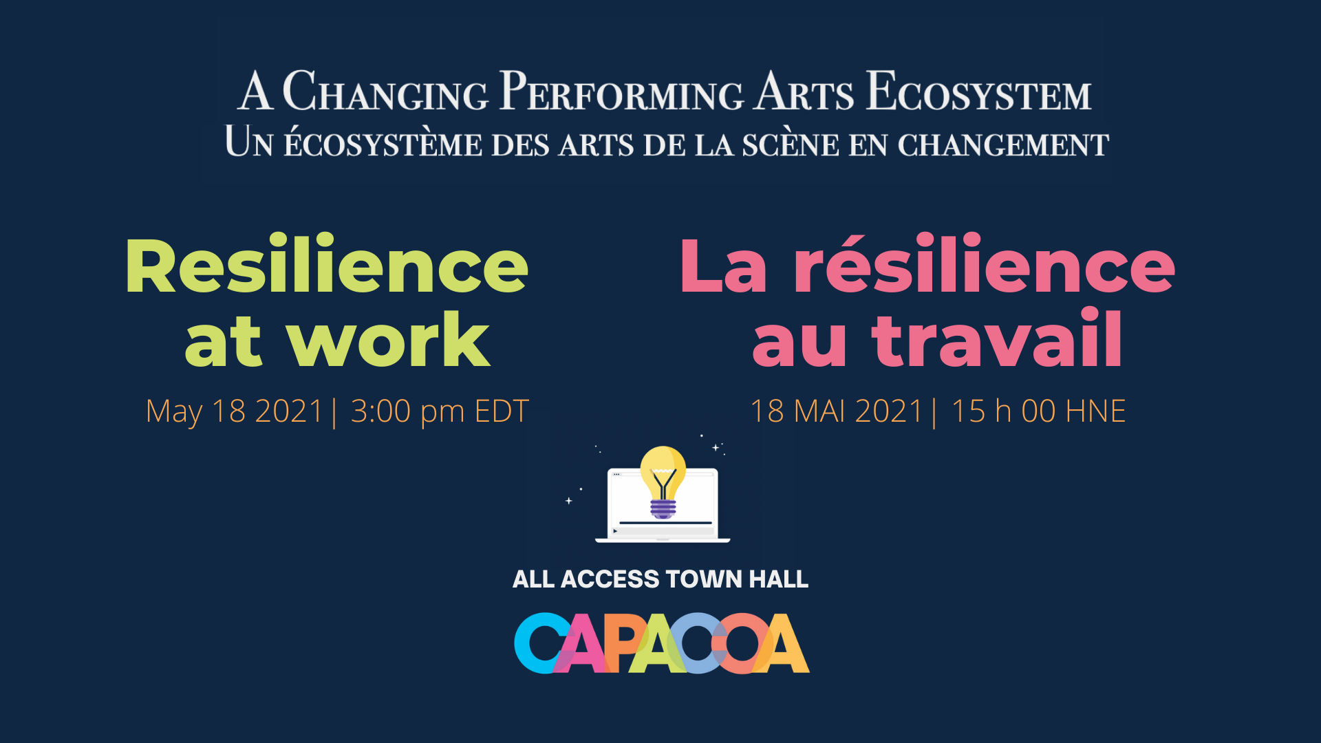 A banner showing the title of the town hall: A Changing Performing Arts Ecosystem: Resilience at work