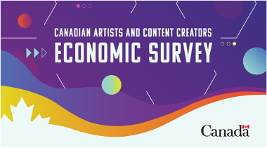 Banner about the Canadian Artists and Content Creators Economic Survey. The graphic design reuses icons refering to analog and digital technologies. The Canada Wordmark is present at the bottom of the banner.
