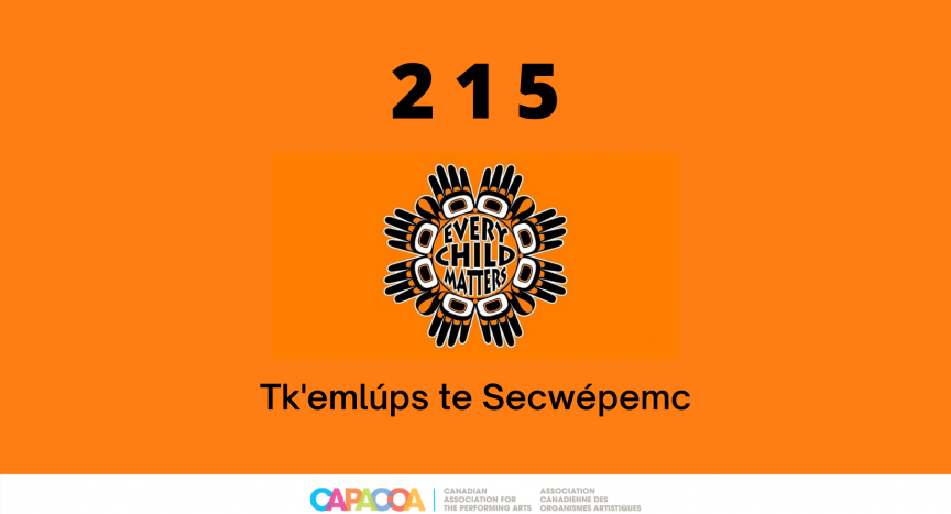 """An orange photo with text saying """"215: Every child matters"""" and CAPACOA's logo"""